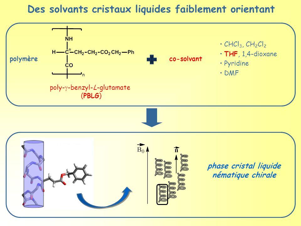 Des solvants cristaux liquides faiblement orientant