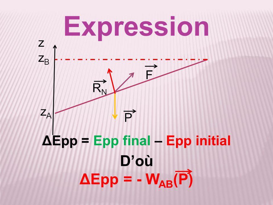 ΔEpp = Epp final – Epp initial