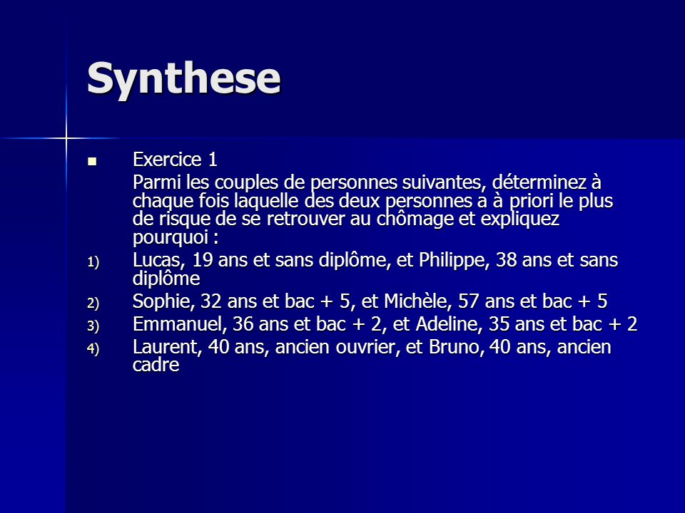 Synthese Exercice 1.