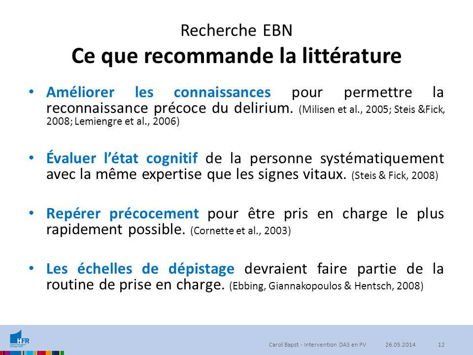 Recherche EBN Ce que recommande la littérature