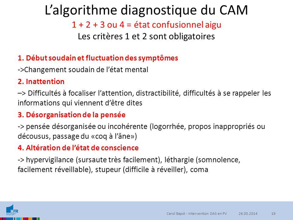 L'algorithme diagnostique du CAM 1 + 2 + 3 ou 4 = état confusionnel aigu Les critères 1 et 2 sont obligatoires