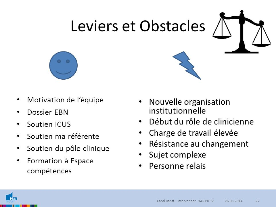 Leviers et Obstacles Nouvelle organisation institutionnelle