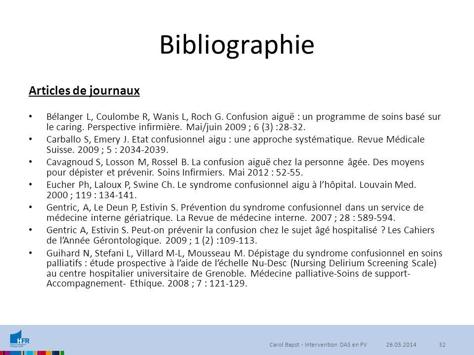 Bibliographie Articles de journaux