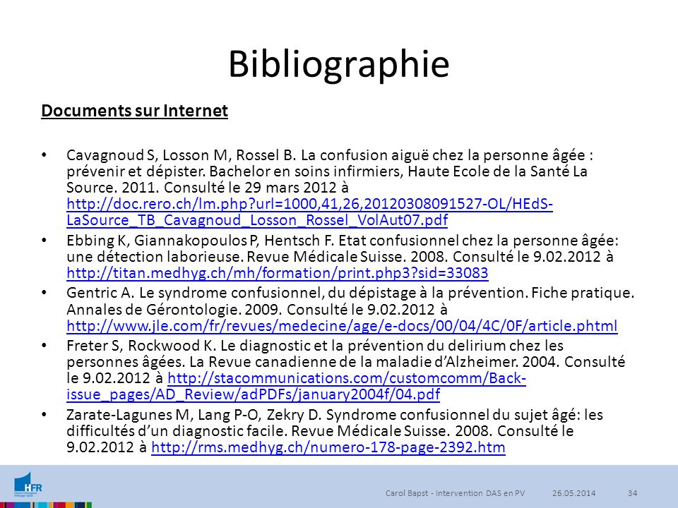 Bibliographie Documents sur Internet
