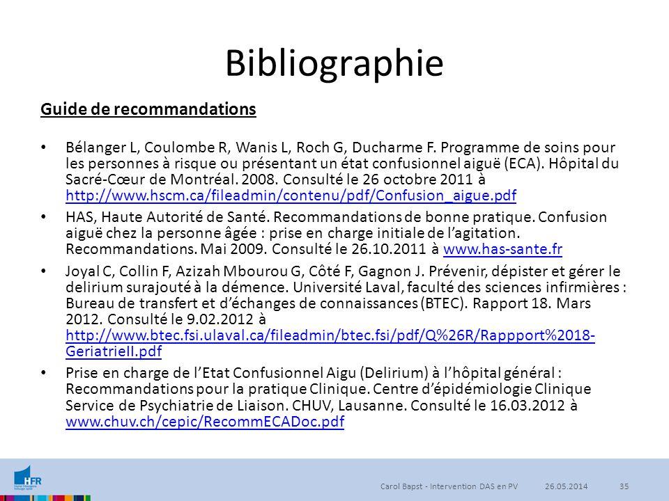 Bibliographie Guide de recommandations