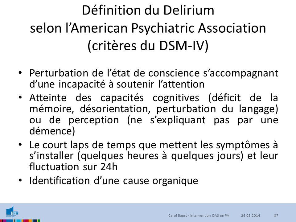 Définition du Delirium selon l'American Psychiatric Association (critères du DSM-IV)