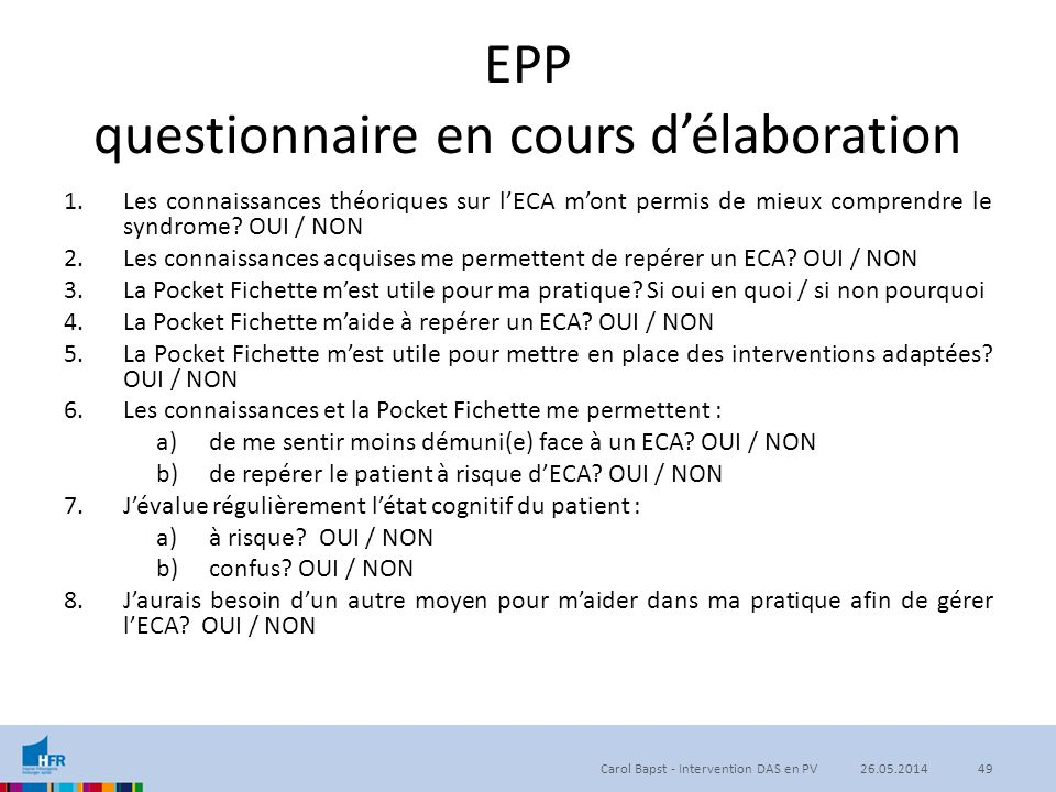EPP questionnaire en cours d'élaboration