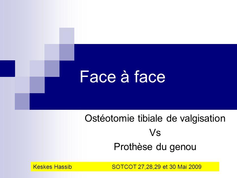 Ostéotomie tibiale de valgisation Vs Prothèse du genou