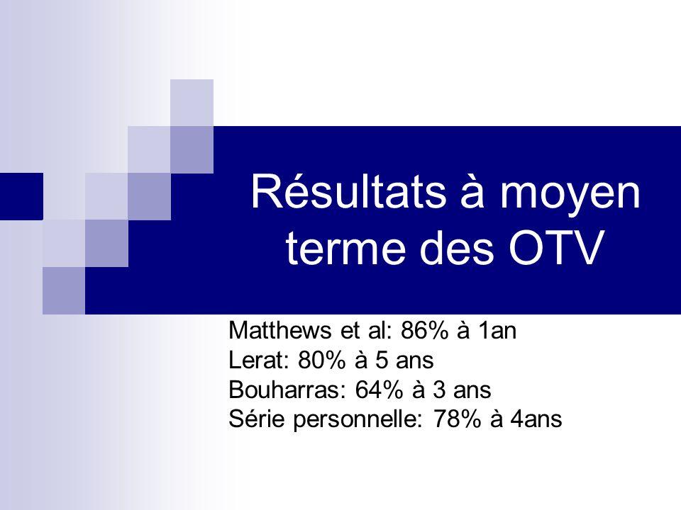 Résultats à moyen terme des OTV