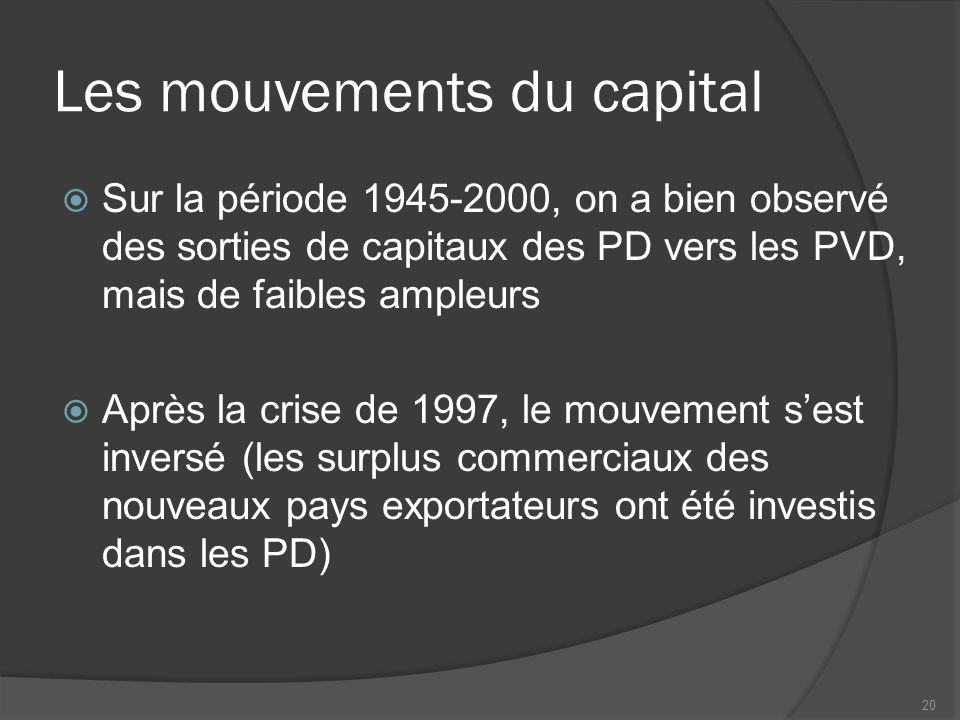 Les mouvements du capital