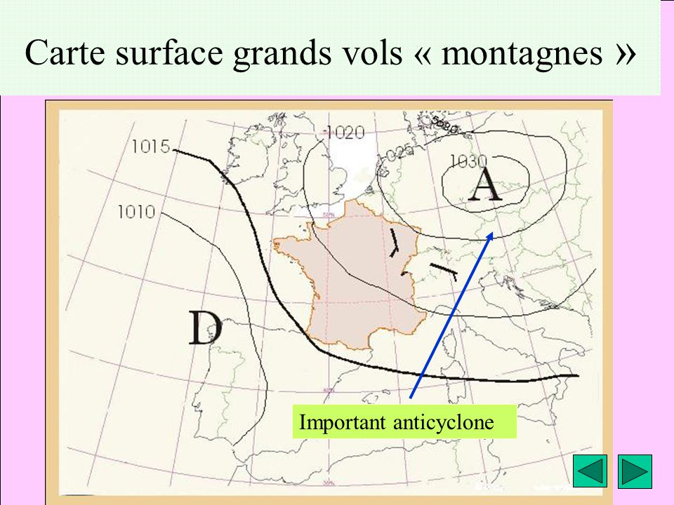 Carte surface grands vols « montagnes »