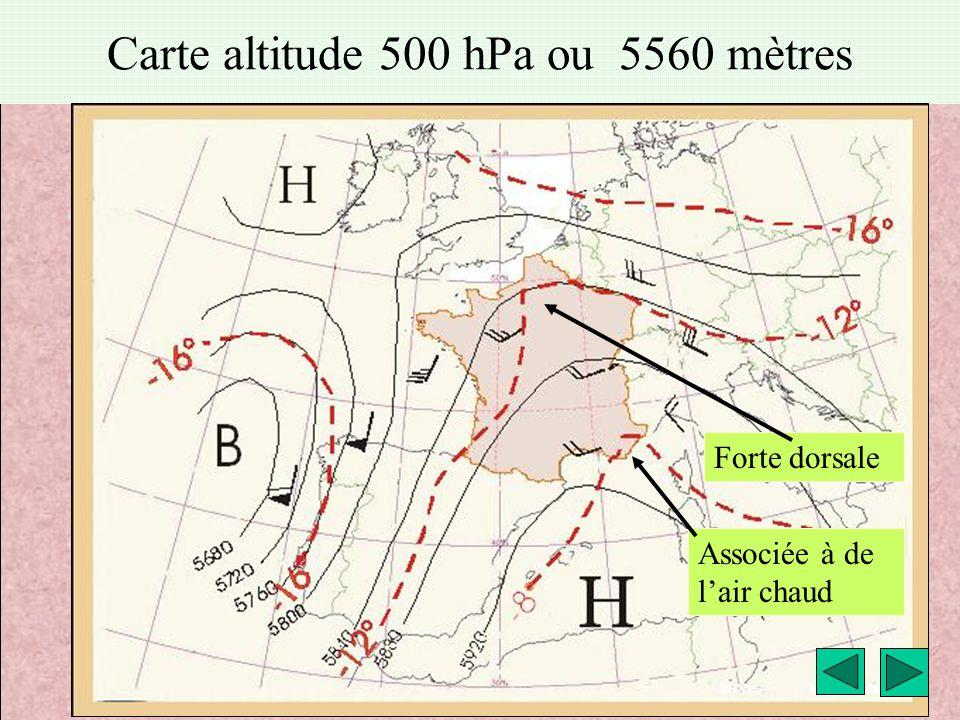 Carte altitude 500 hPa ou 5560 mètres