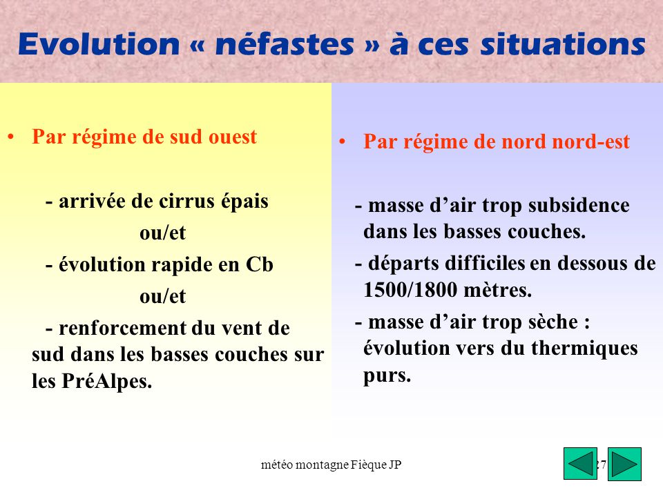 Evolution « néfastes » à ces situations