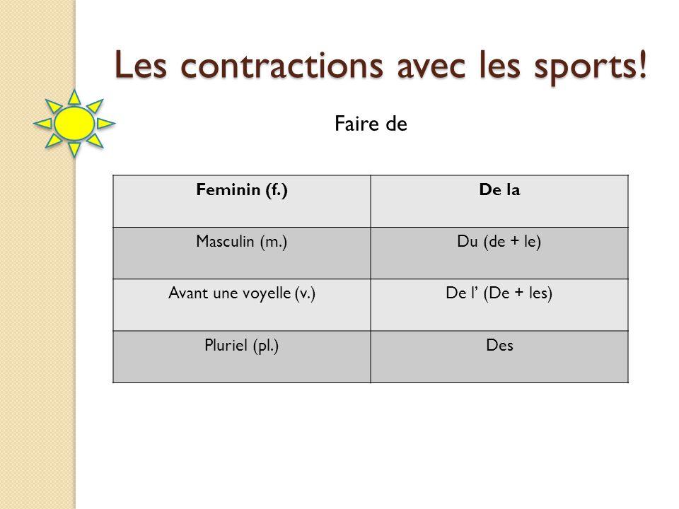 Les contractions avec les sports!