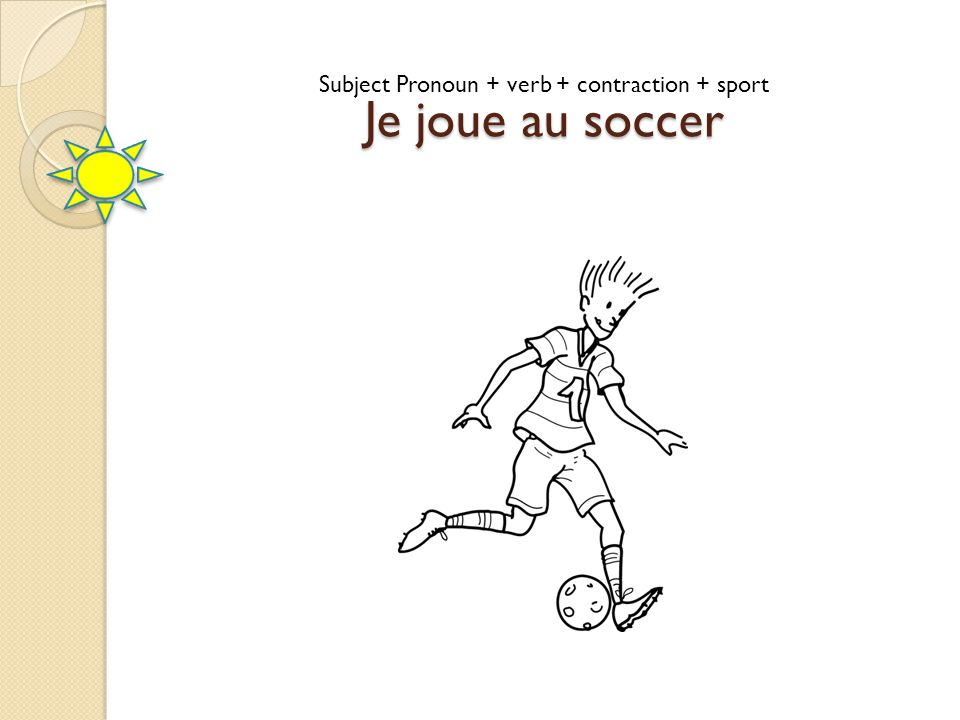 Subject Pronoun + verb + contraction + sport
