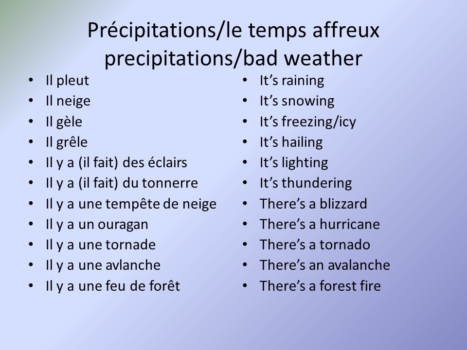 Précipitations/le temps affreux precipitations/bad weather