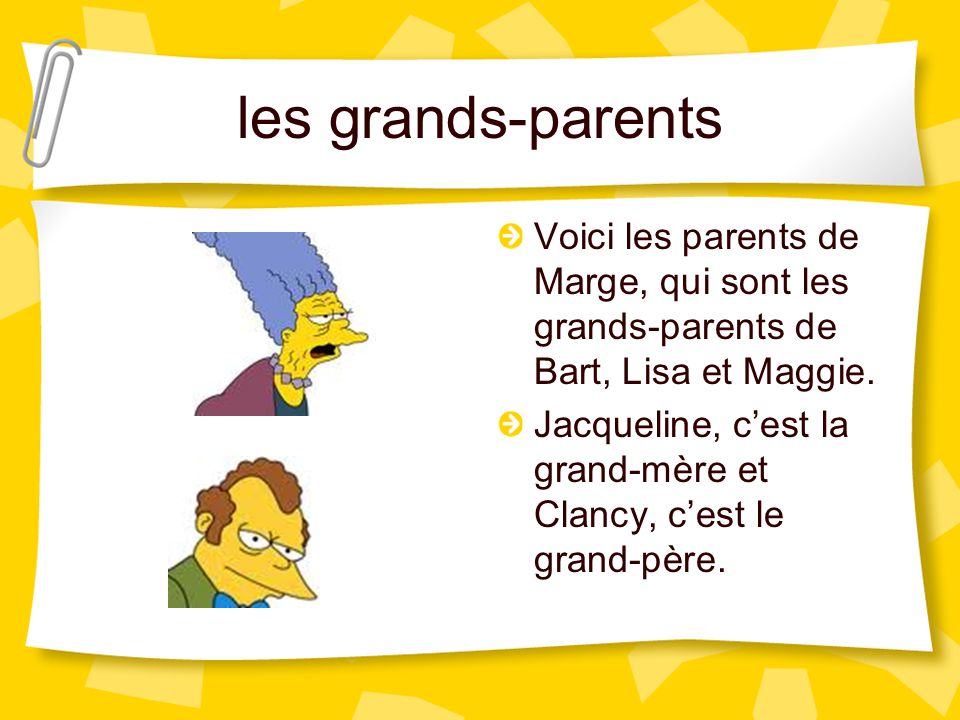 les grands-parents Voici les parents de Marge, qui sont les grands-parents de Bart, Lisa et Maggie.