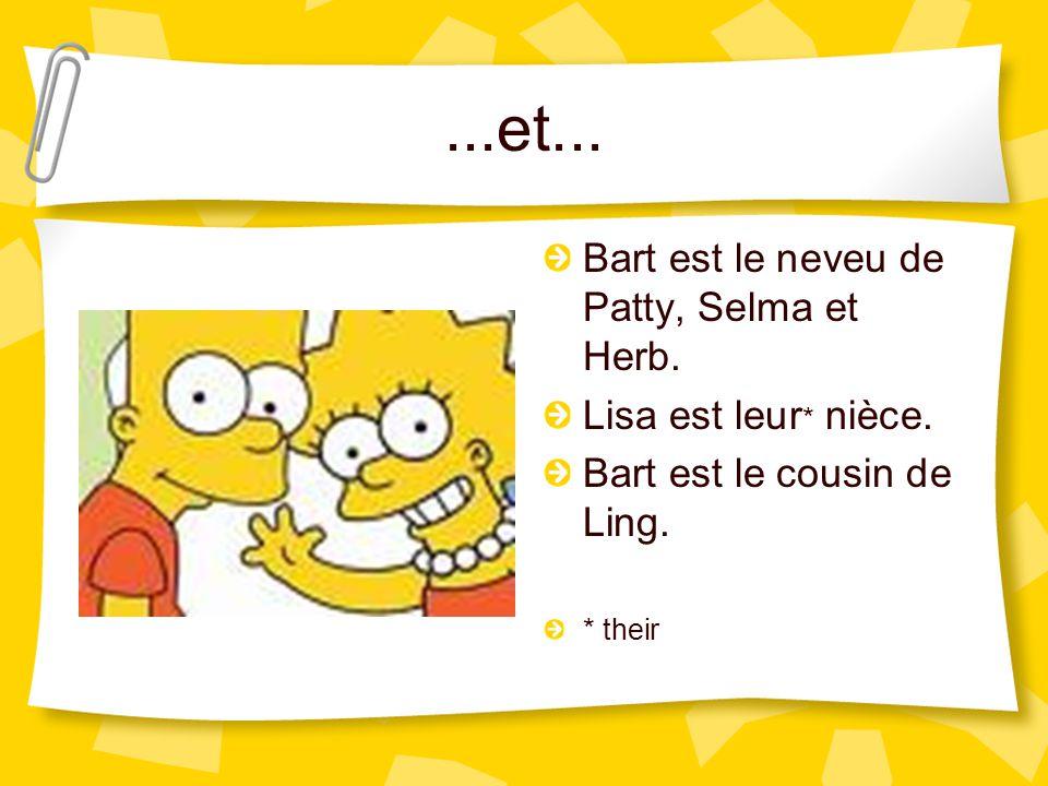 ...et... Bart est le neveu de Patty, Selma et Herb.