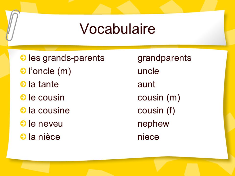Vocabulaire les grands-parents grandparents l'oncle (m) uncle