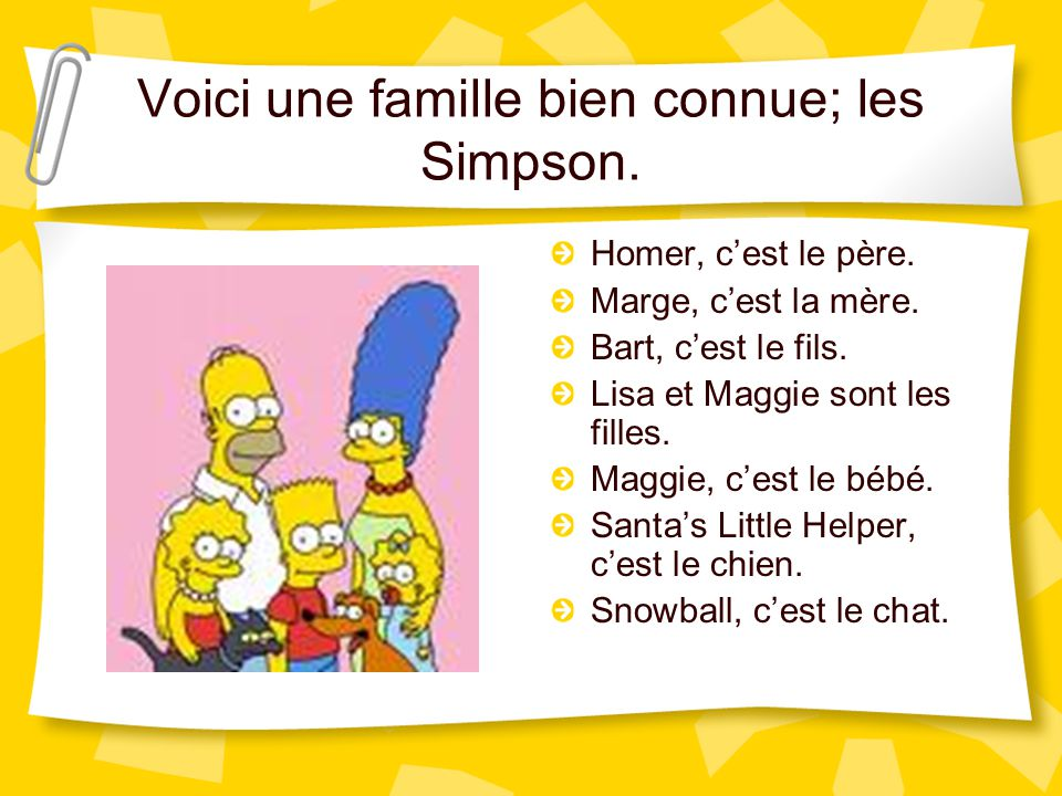 Voici une famille bien connue; les Simpson.