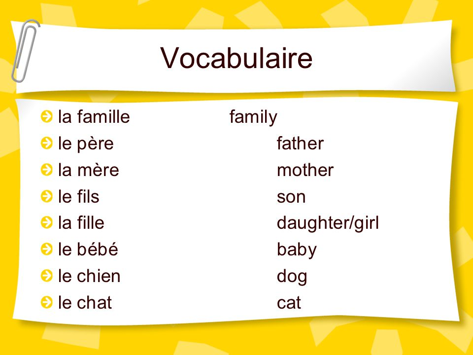 Vocabulaire la famille family le père father la mère mother