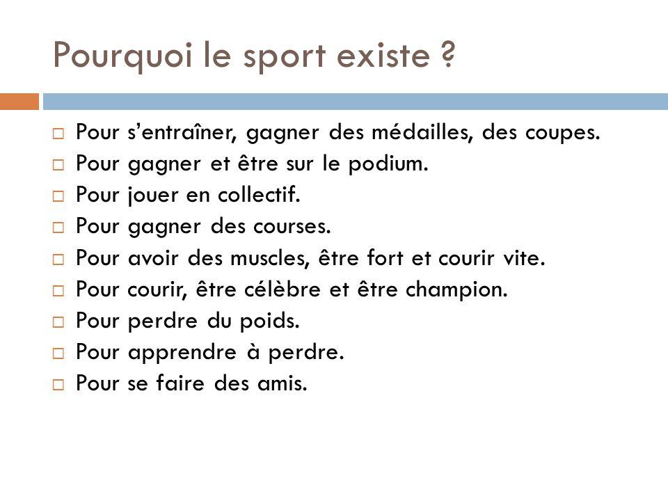 Pourquoi le sport existe