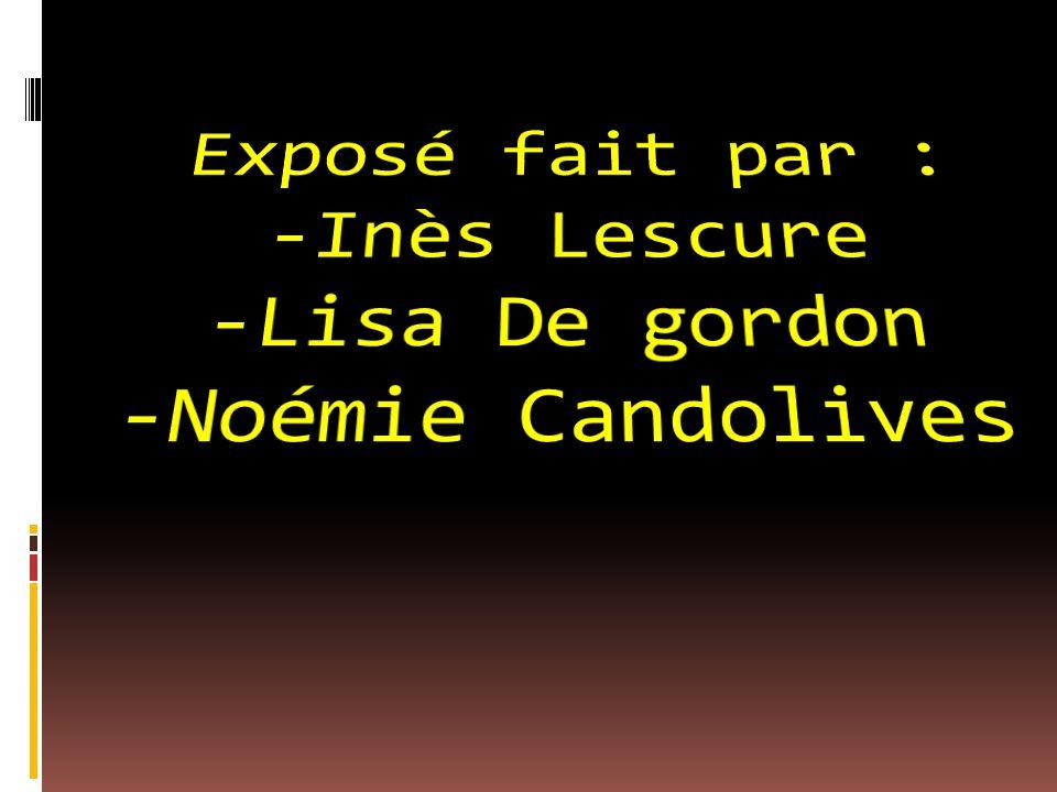Exposé fait par : -Inès Lescure -Lisa De gordon -Noémie Candolives