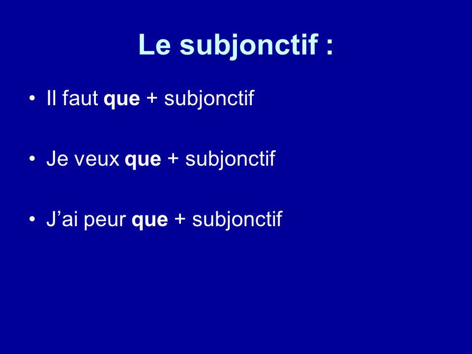 Le subjonctif : Il faut que + subjonctif Je veux que + subjonctif