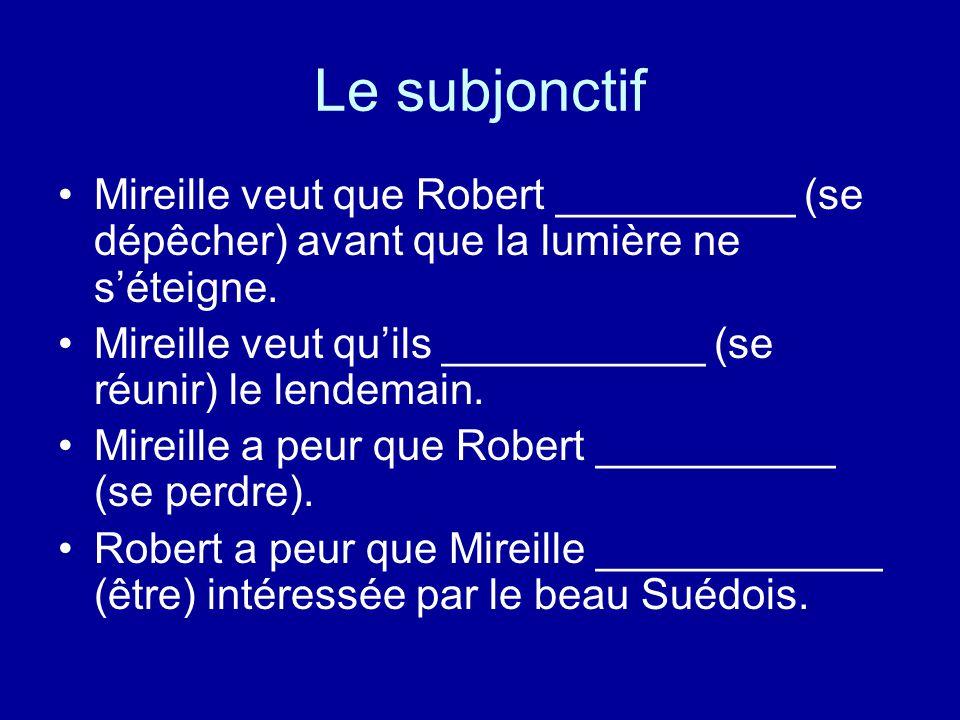 Le subjonctif Mireille veut que Robert __________ (se dépêcher) avant que la lumière ne s'éteigne.