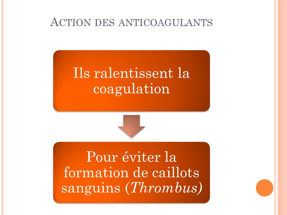 Action des anticoagulants