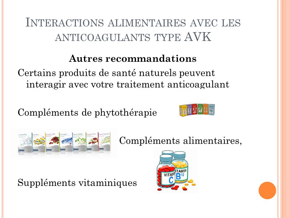Interactions alimentaires avec les anticoagulants type AVK