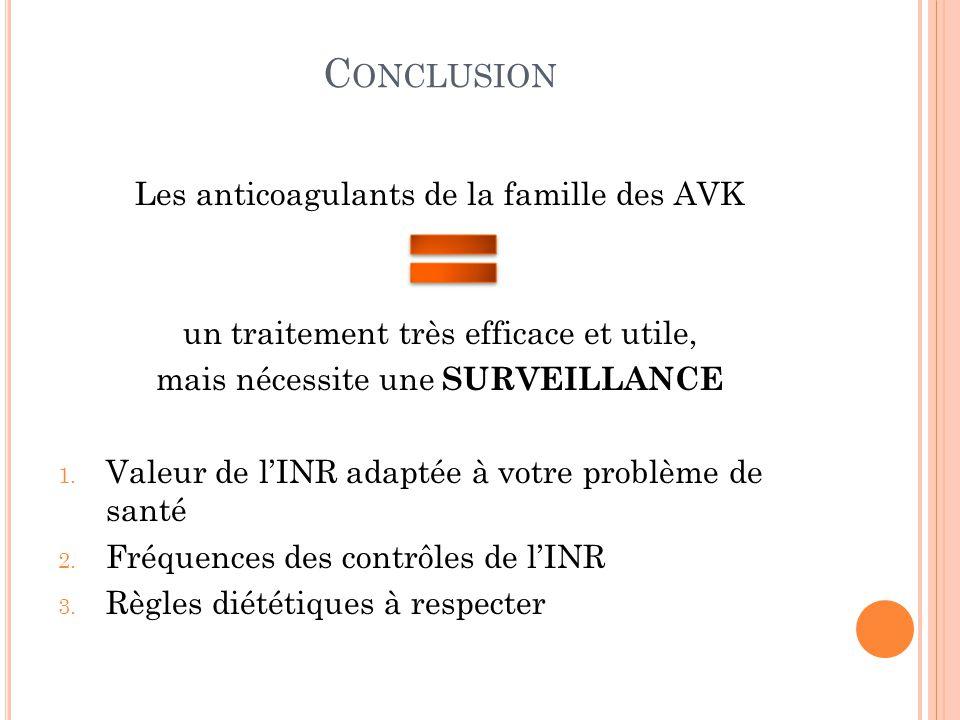 Conclusion Les anticoagulants de la famille des AVK