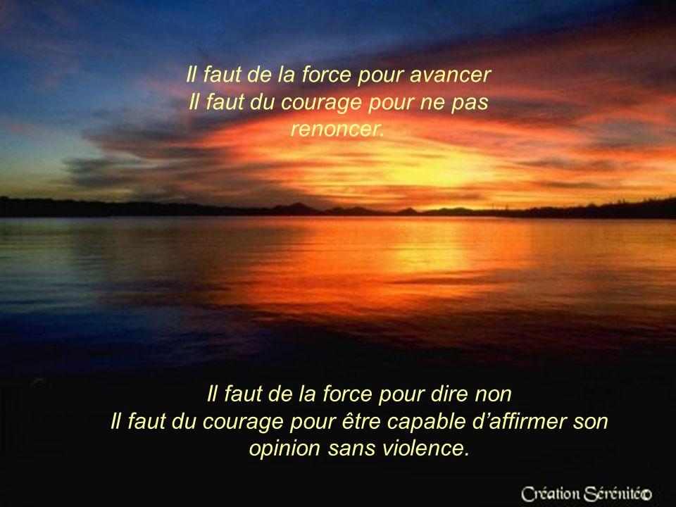 Il faut de la force pour avancer Il faut du courage pour ne pas renoncer.