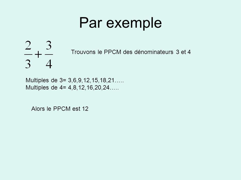 Par exemple Trouvons le PPCM des dénominateurs 3 et 4