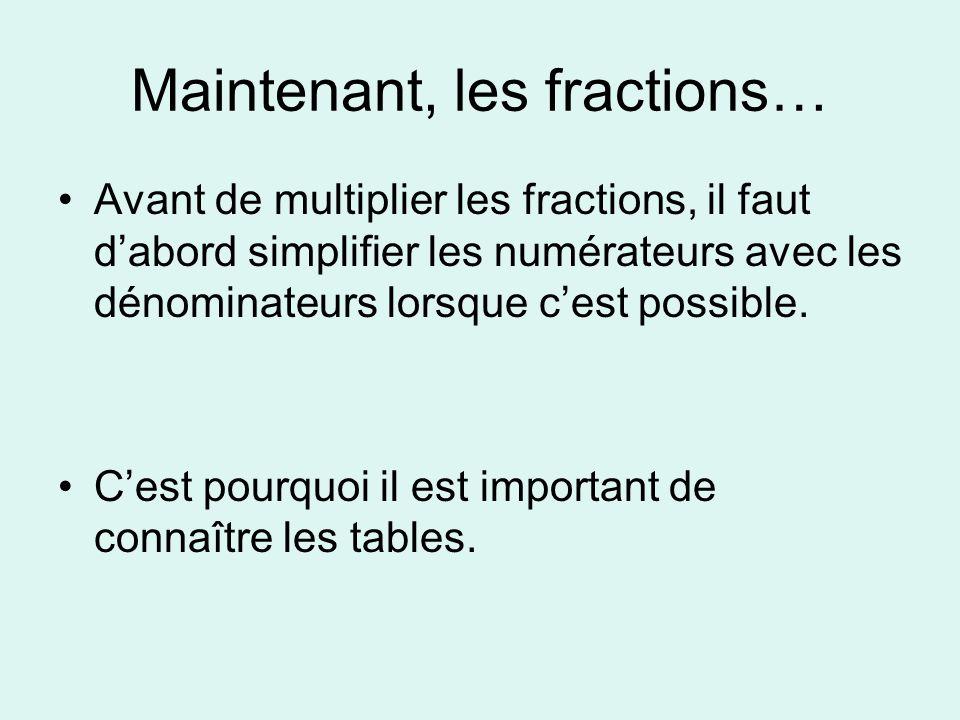 Maintenant, les fractions…