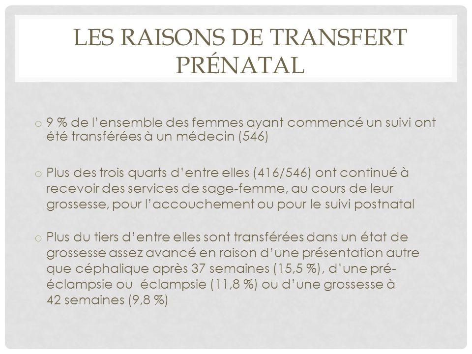 Les raisons de transfert prénatal