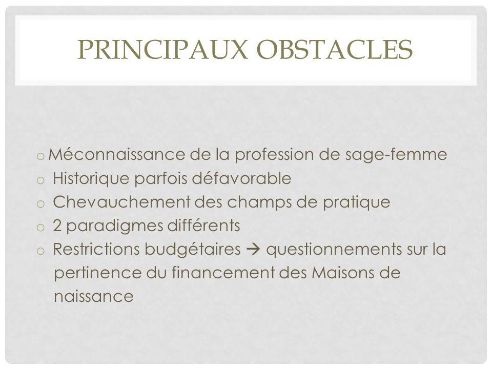 PRINCIPAUX OBSTACLES Méconnaissance de la profession de sage-femme