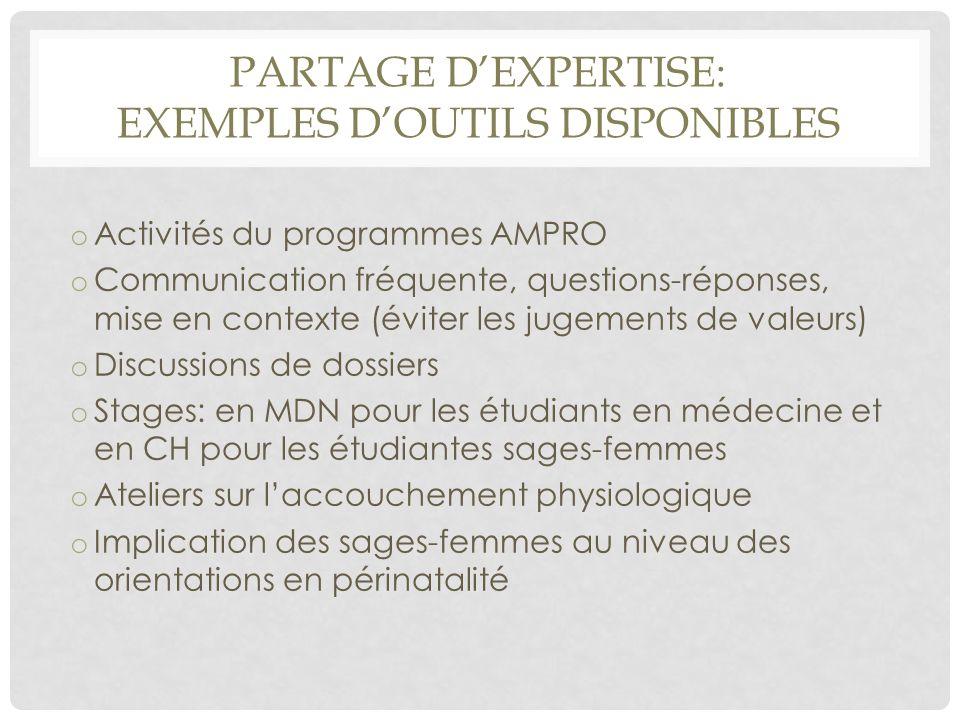 PARTAGE D'EXPERTISE: EXEMPLES D'OUTILS DISPONIBLES