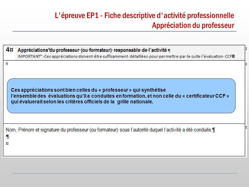 L épreuve EP1 - Fiche descriptive d activité professionnelle