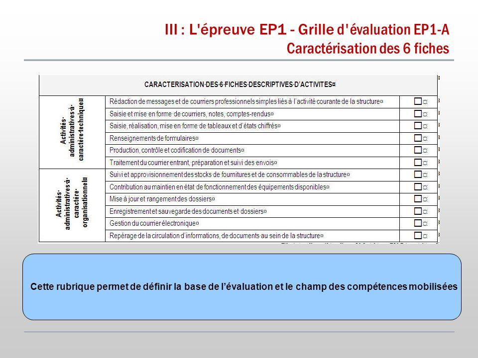 III : L épreuve EP1 - Grille d évaluation EP1-A