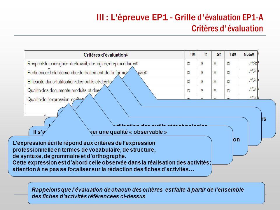 III : L épreuve EP1 - Grille d évaluation EP1-A Critères d évaluation