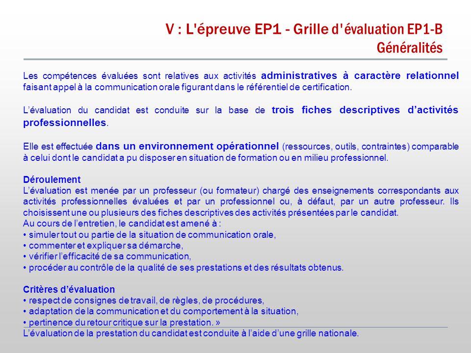 V : L épreuve EP1 - Grille d évaluation EP1-B Généralités