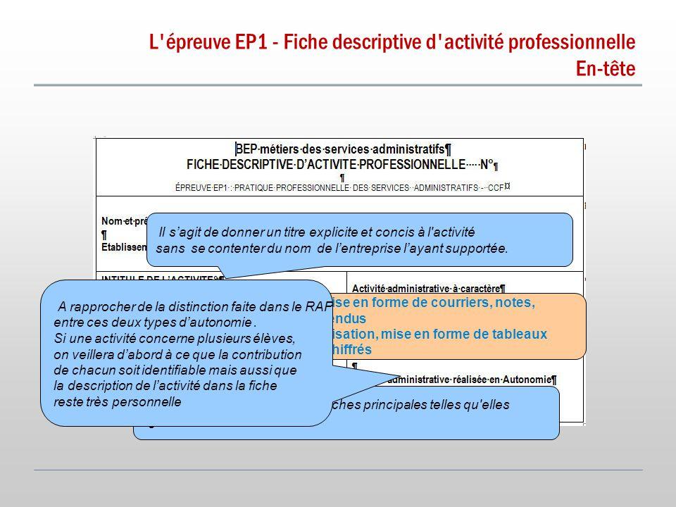 L épreuve EP1 - Fiche descriptive d activité professionnelle En-tête