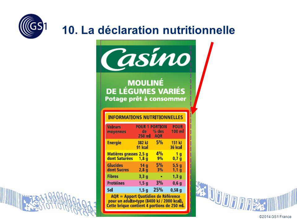 10. La déclaration nutritionnelle