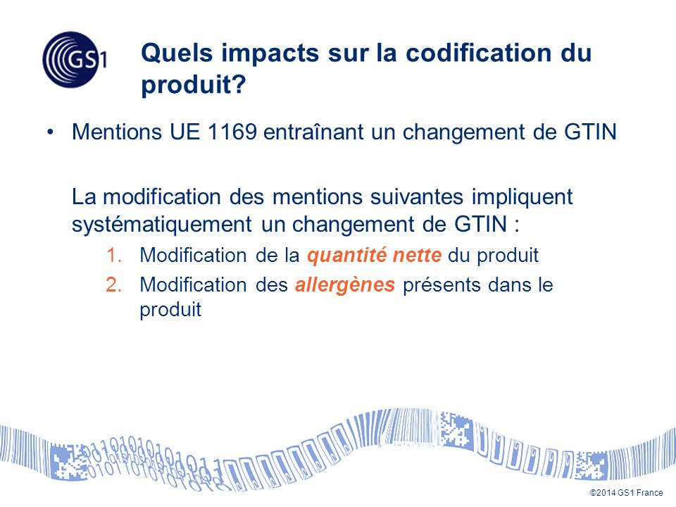 Quels impacts sur la codification du produit