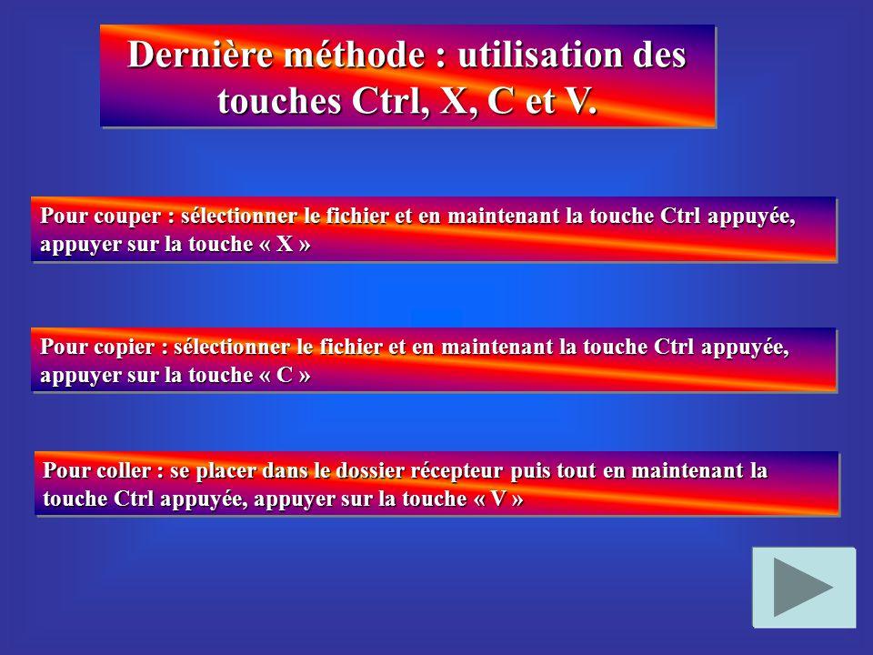 Dernière méthode : utilisation des touches Ctrl, X, C et V.