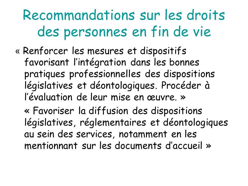 Recommandations sur les droits des personnes en fin de vie