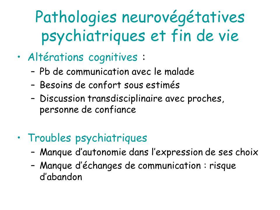 Pathologies neurovégétatives psychiatriques et fin de vie