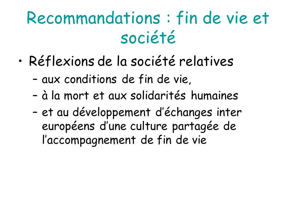 Recommandations : fin de vie et société