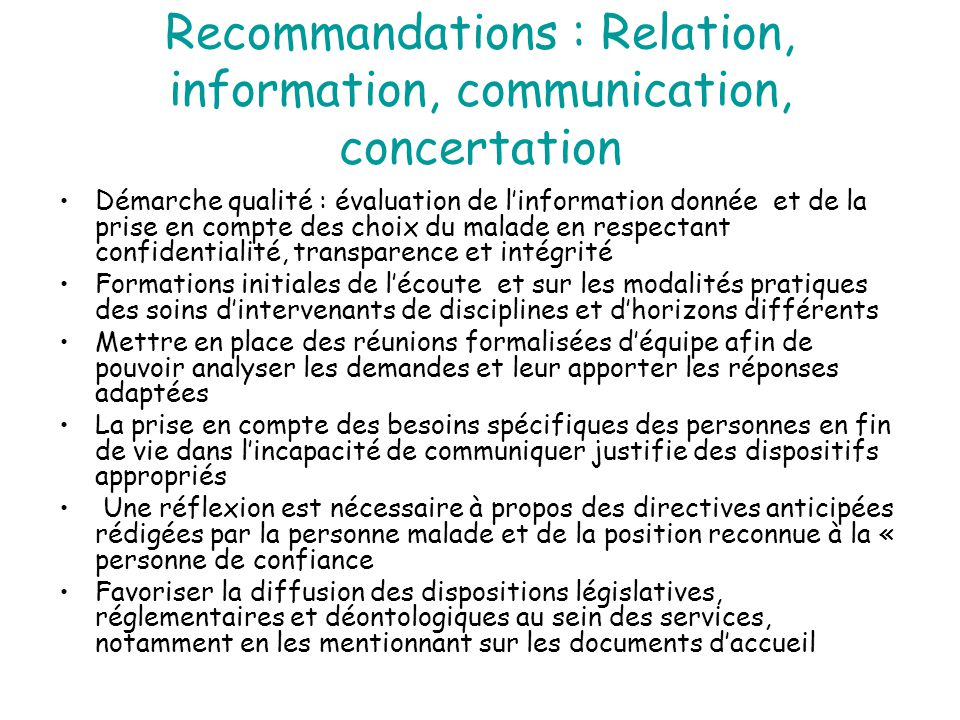 Recommandations : Relation, information, communication, concertation